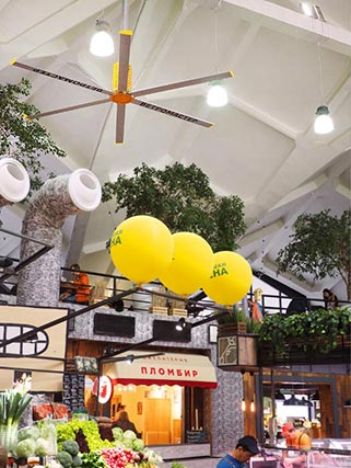 Потолочные вентиляторы идеально подходят для установки на торговых предприятиях